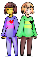 [GiF] Chara and... Frisk...? by Naokiiii