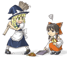 Marisa and Reimu by odaleex