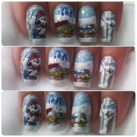 Snoopy and friends ice skating nail art by amanda04