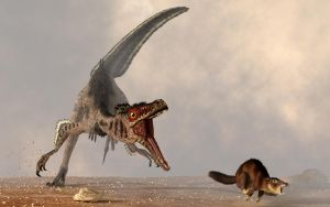 Velociraptor Chasing Small Mammal by deskridge