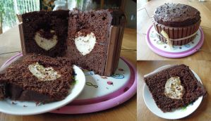 Chocolate Fudge Cake with Cream filling by NessaArnatulie