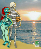 Halloween's Sunset Beach by Ohthehumanityplz