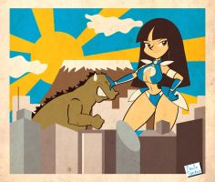 Super Spand-X vs Godzilla by Captain-Paulo