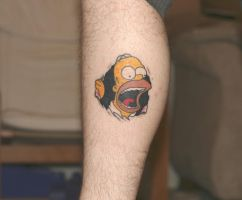 My new Homer Tattoo by Dyslexic-Ferret