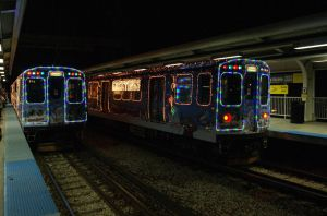 Two Holiday Trains at Skokie by JamesT4
