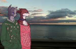 moody teenagers at sunset by purrcatory