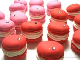 Pink and Red Macarons by quaint-dame