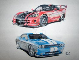 Dodge Viper ACR and Challenger by Run-Beside-Me