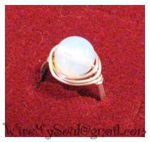 Opalite and silver ring by WireMySoul