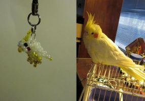 Beaded Cockatiel Charm by minnichi