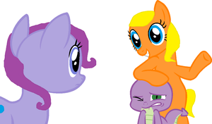 Purple Berry Squash, Sunset Dandelion and a Dragon by Apple-Jack1000