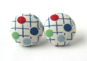 Bright stud earrings button white green blue red by KooKooCraft