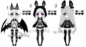 monochromatic gothic adoptable batch CLOSED by AS-Adoptables