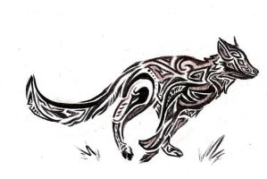 Running Wolf Tribal_sketch by VolatileFortune