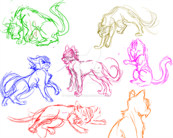 cat sketches by TurquoiseFeather