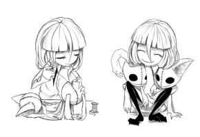 girl and her dolls.(doodle) by Meammy