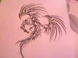 two wing tribal dragon by gbftattoos