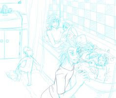 Bath timez - sketch by x-Lilou-chan-x