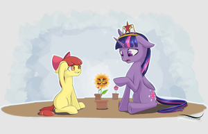 Applebloom, what did you do to my flowers...? by NovaQuinmat