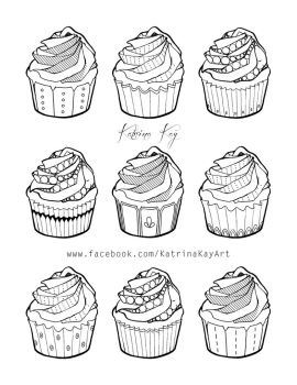 Adult Coloring Book Page - Cupcakes by Katoons88