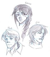 The Hunger Games character sketches by Pandablubb