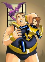 Blob, Shadowcat + Lockheed by Big-Ogre