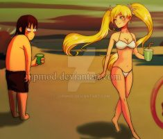 NaruTen: Teasing Beach Flirt (Gender Bend) by JuPMod