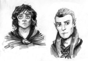 frodo and legolas sketches by m-z-k