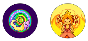 Lady Rainicorn and Flame Princess Pins by IdentityPolution