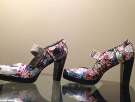 Hand Crafted X-Men Comic Book Shoes by MsInsanityDoodles