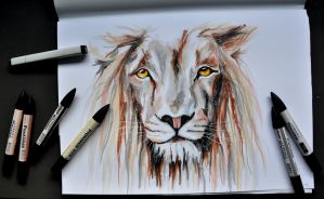 Lion with markers by LOTMrs