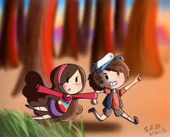Dipper and Mabel by Kazia-Kat