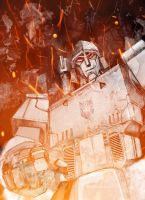 Megatron in flames by TPM2012