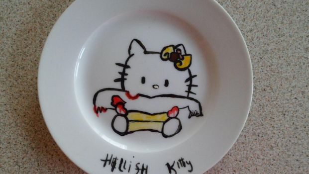 hellish kitty plate by BleedingDarkRose