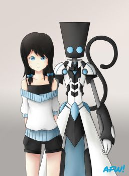 little girl with mobot by Afwro