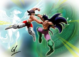 Seiya vs. Shiryu by DrawingSpirit2015