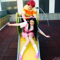 Phineas and Isabella on the slide by AliciaMigueles