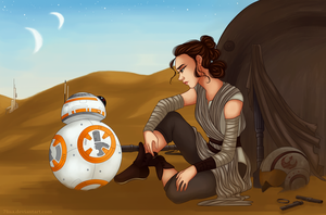 Rey and BB-8 by 7Lisa