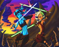 AHSOKA AND AAYLA, EFF YEAH!!! by Groxee