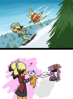 Skiing for Solrocks and Cubone by MsDinoGoat