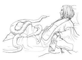 Severus Snape with snake by zeldaricdeau