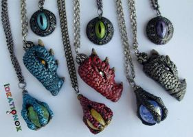 Dragon Head, Eyes and Claw Necklaces by Ideationox