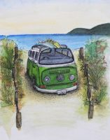Kombi on beach 1 by gypsysnail