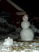 Snowman watching TV by puzzlerf