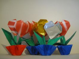 Bouquet of Hearts origami by boxofslavery