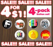 BUTTON PACK SALE 4 FOR 1 DOLLA by ilovegravy
