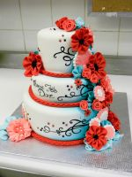 Red and turquoise cake side a by buttercreamfantasies