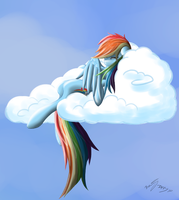 ATG3 Day7 - Rainbow Dash lying on the clouds by BenjiK