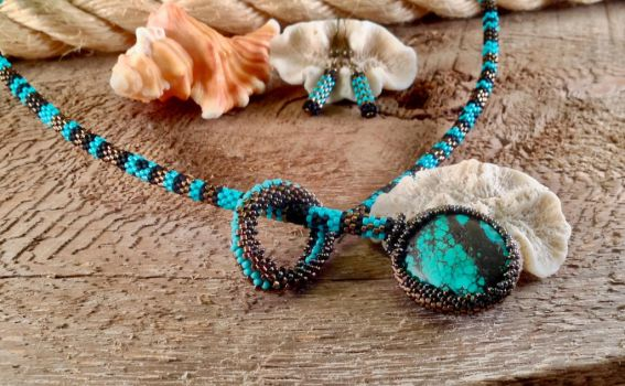 Turquoise pattern lariat by copper9lives