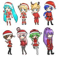 vocaloid christmas chibi's by rinweb
